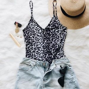 Bodysuit Leopard Print Bodysuit top tops Animal